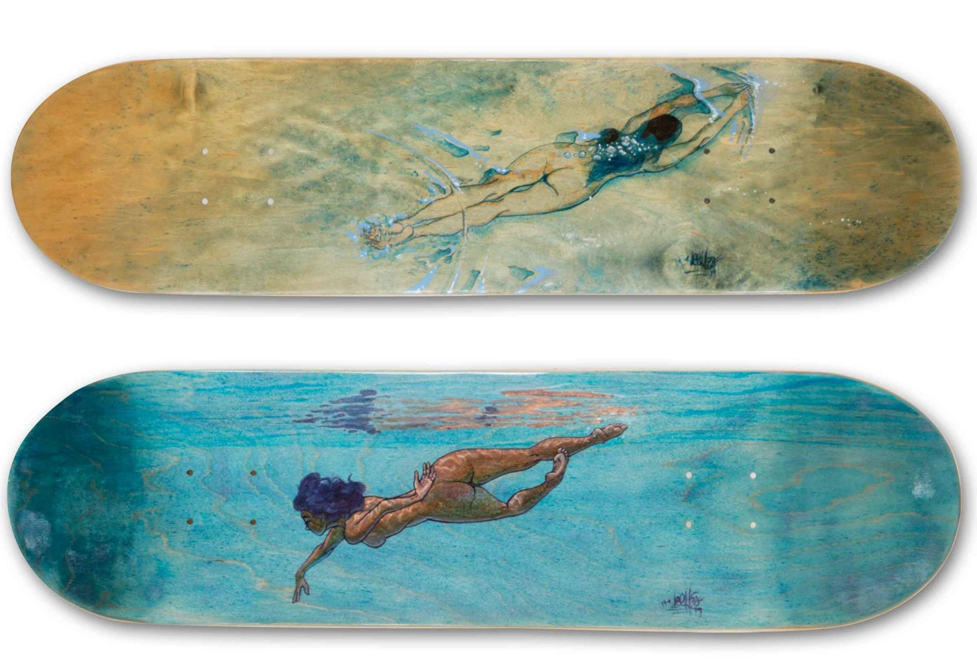 Underwater Love Skateboardkunst - Brandmalerei - Werner Härtl